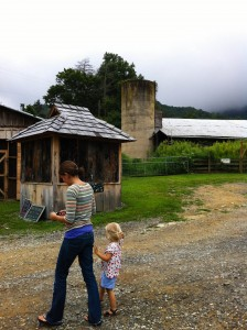 Maggie and Charlotte at Hickory Nut Gap Farm