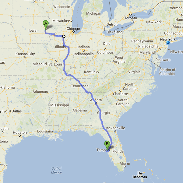 Iowa to Florida by car