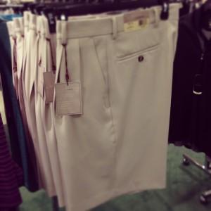 Pleated khaki shorts