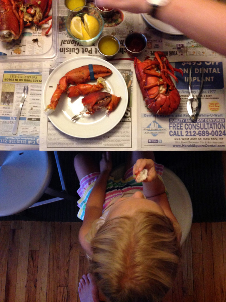 Charlotte with lobster, at the table